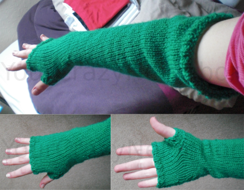 As if I decided to make these. Once-ler inspired fingerless mitten arm warmer thingies, I don't even- I guessed the pattern so the thumb is a little short but oh well.