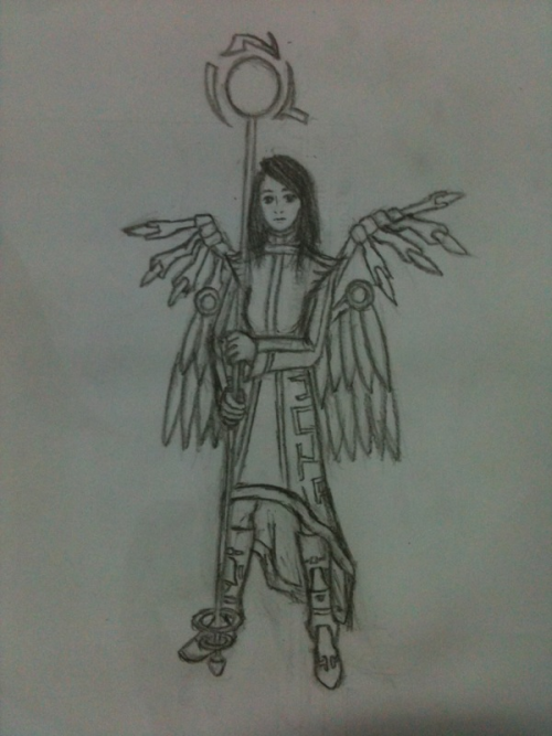 Concept art lineart for a cyber guardian angel. Total spoiler for wanlingnic as gift art lol. Will explain later, gonna catch her livestream!