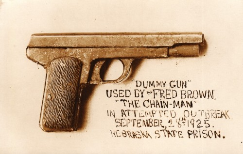 "PLEASE CREDIT WHEN REBLOGGING Thanks   ""DUMMY GUN"" Carved Pistol Used by Fred Brown in attempted prison break, Nebraska  Original RPPC 1925 Photo collection Jim Linderman Dull Tool Dim Bulb the Daily Art Blog"