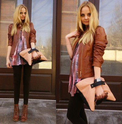 ethnic tunic + leather + Grab-bag
