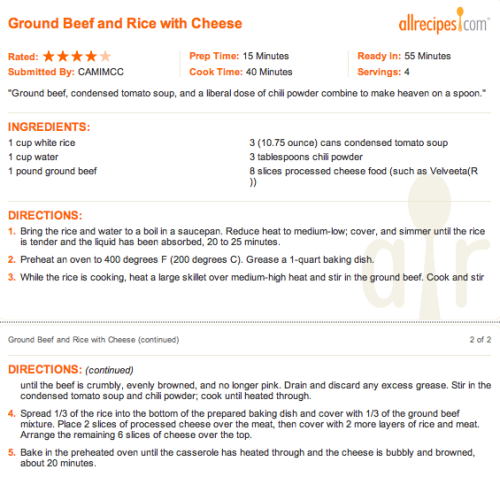 I'm sure this recipe could be healthier and still delicious with brown rice, ground turkey and regular cheese.