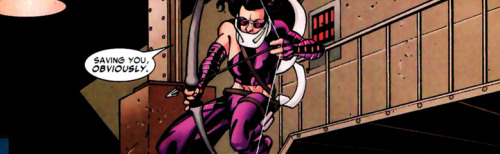 fuckyeahkatebishop:   Kate leaps from a stairwell, arrow drawn. Bucky: What are you two doing here?! Kate: Saving you, obviously.  Young Avengers Presents 1