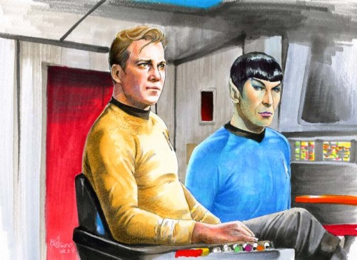 fuckyeahstartrektos:  lovelytrek:  On the bridge by ~Emushi  This is really good.