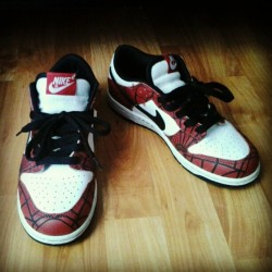 Spiderman Dunks, Day-7 Collaboration Pair #sneakerphotoaday #solesociety  (Taken with instagram)