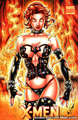 ladies-in-little-to-no-clothing:  Hellfire Phoenix by Garrett Blair