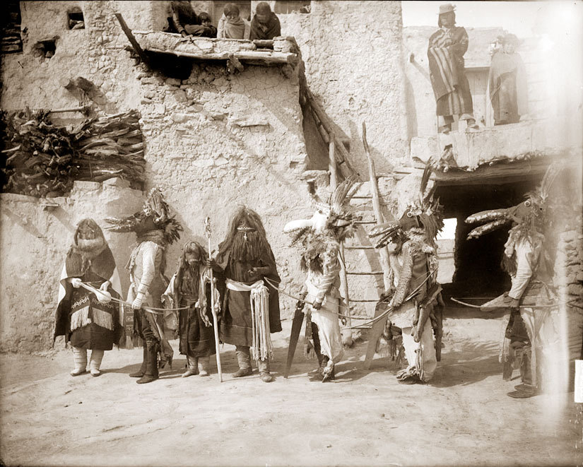 Hopi Kachina Ceremonial Dancers The Hopi are a federally recognized tribe of Native American people, who primarily live on the 2,531.773 sq mi (6,557.26 km2) Hopi Reservation in northeastern Arizona. The Hopi area according to the 2000 census has a population of 6,946 people.  The Hopi language is one of the 30 of the Uto-Aztecan language family. The Hopi Reservation is entirely surrounded by the much larger Navajo Reservation. The two nations used to share the Navajo-Hopi Joint Use Area, but this was a source of conflict. The partition of this area, commonly known as Big Mountain, by Acts of Congress in 1974 and 1996, has also resulted in long-term controversy.