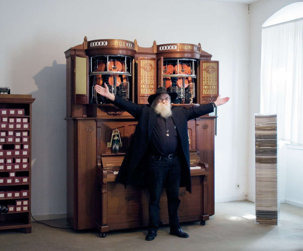 At Siegfried's Mechanical Music Cabinet, the self-playing violins are a big deal.  Au Siegfried's Mechanisches Musikkabinett, cette machine accorde ses violons (toute seule!). Photo by / par Anne Lass. See more from our April 2012 issue.Découvrez le reste de notre numéro d'avril 2012.