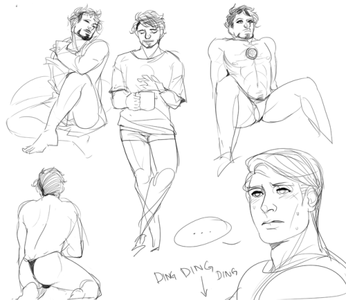 ironfries:  quick sketches 8U contains surprise penis tony stealing cap's shirts and intense sexual frustration