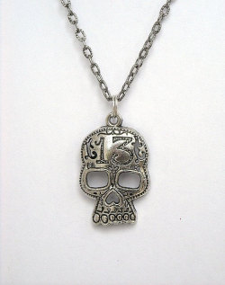 Skull Necklace, Lucky 13, from InkandRoses13.