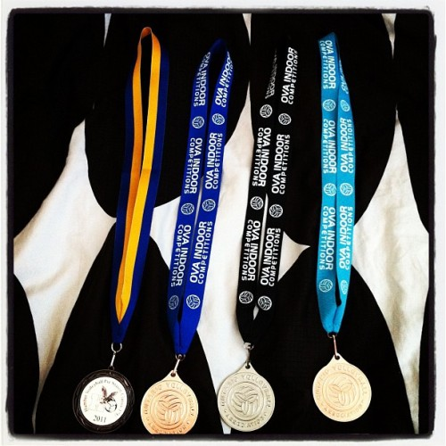 My 2012 season so far. #volleyball #TWESTGANGORDIE 3 back to back 17U medals (Taken with instagram)