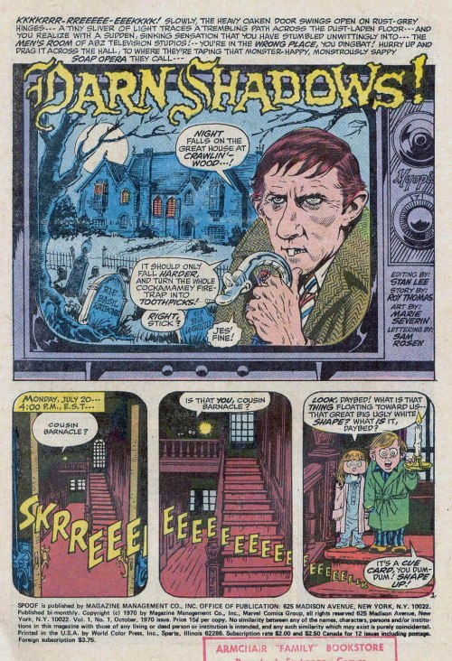Spoof #1 Splash page/ begin The Dark Shadows parody… (1970)