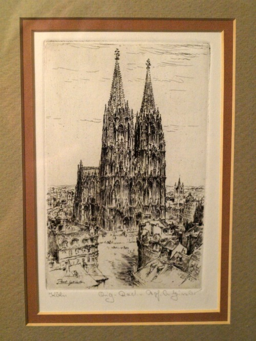 Another great thrift store buy. An original etching by Paul Geissler of the Cologne Cathedral. Only paid $2.50 at the Cornerstone Thrift Shop.   Paul Geissler (1881-1965): A German painter and etcher of landscapes and city views, Paul Geissler studied art in Weimar under Max Thedy. For most of his career, Geissler lived and worked in the city of Munich. During the 1920's and 1930's Paul Geissler's etchings reached an international reputation. He etched views in France, Spain, Italy and England and in 1929, he was commissioned by the city of New York to depict some of the principal buildings in a series of etchings. Examples of Paul Geissler's art are found in permanent collections of major museums in Berlin, Vienna, Manheim and Munich.