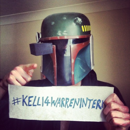 Boba Fett has joined the cause, have you?   That guy doesn't talk much, but he sure does know what he wants. And it's #kelli4warrenintern