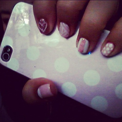 this mix and match might be too cutesy, lol. my easter nails! (Taken with instagram)