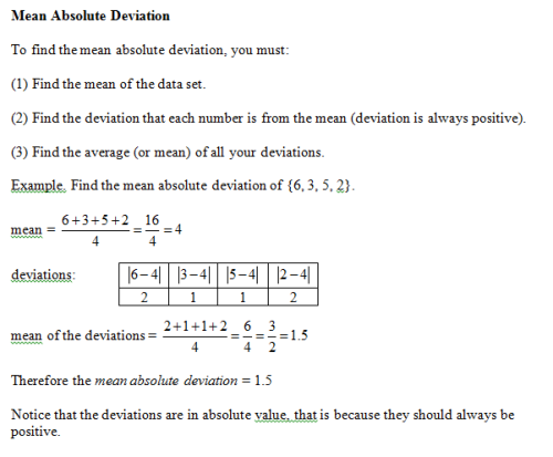 Notes on Mean Absolute Deviation