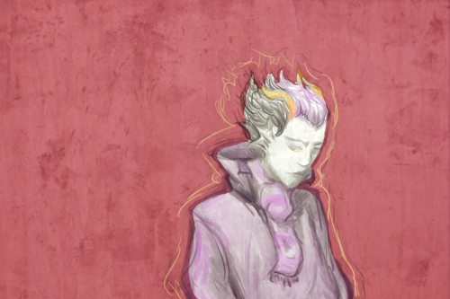 Eridan's cool.  I ditched his specs because something about the way they sat on his sea-ears (is that a thing?) was freaking me out. So maybe he's holding them in his hand or something? Iunno, just use your imagination. Maybe Sol is off prancing around kissing them.