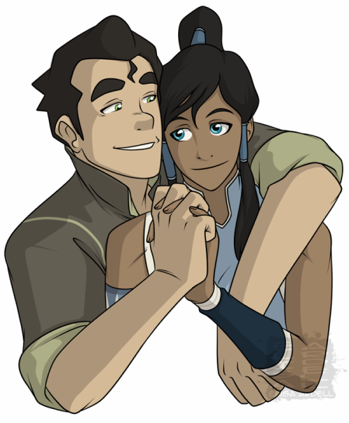 A less risque picture of Korra and Bolin.