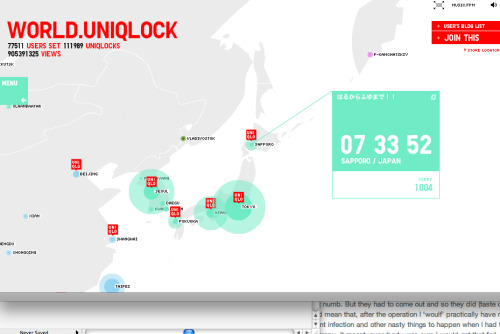 UNIQLOCK This is sooooo much fun! Follow the link to see Uniqlo's interactive world clock. Uniqlock Uniqlo Calendar
