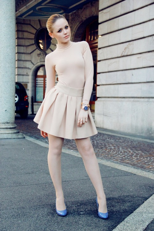 "pretaportre:  Kristina Bazan from Kayture in ""Ballerina"". Skirt from Zara, Body from American Apparel, Michael Kors Watch and Bally shoes."