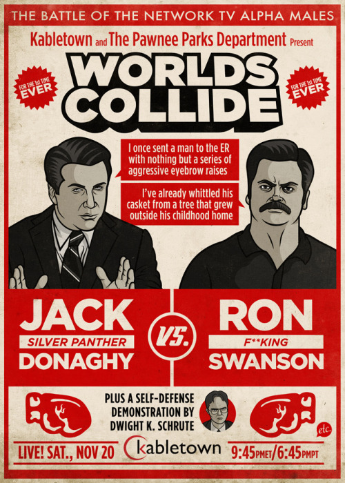 Hey everybody! My new illustrated Jack Donaghy vs. Ron Swanson Fight Poster is on sale now in my Society6 store! Get yours now!