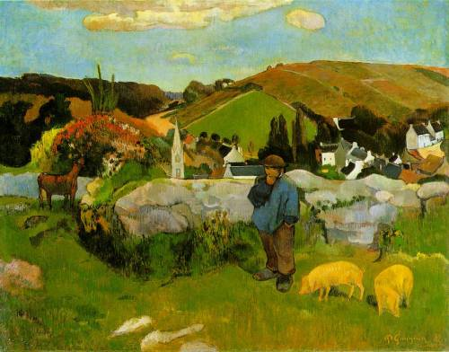 arthistoryfordilettantes:  The Swinherd, Brittany by Paul Gauguin (1888)