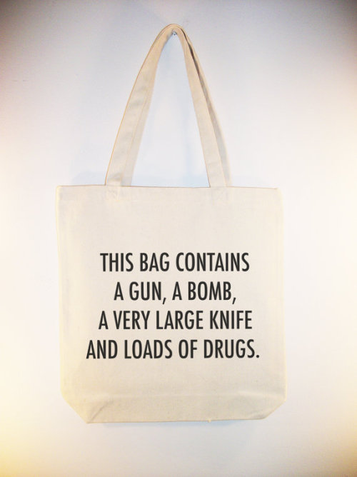 "wickedclothes:  This Bag Contains… This conveniently sized 15"" x 15"" high-quality canvas tote bag has a 24 inch shoulder strap and 4 inch flat-bottom gusset. Sold on Etsy. Please check out Wicked Clothes on Facebook and Tumblr!"
