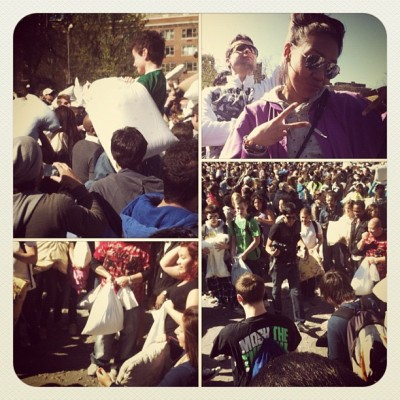 Attending the annual #Pillow #Fight 2012 #NYC #WashingtonSquare deuces (Taken with instagram)