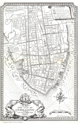 map of Charleston from 1930 Archived by Lowcountry Digital Library