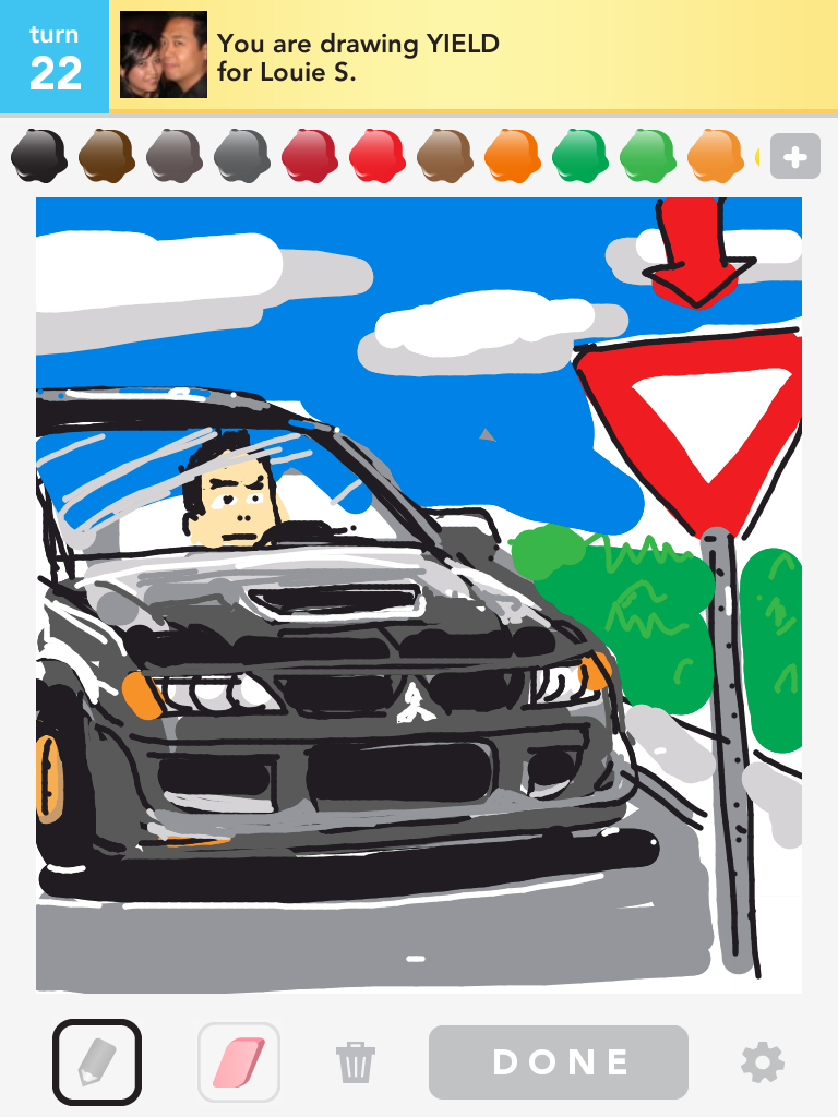 All that for a yield sign! #yield #drawsomething #mitsubishi #evo #mitsu