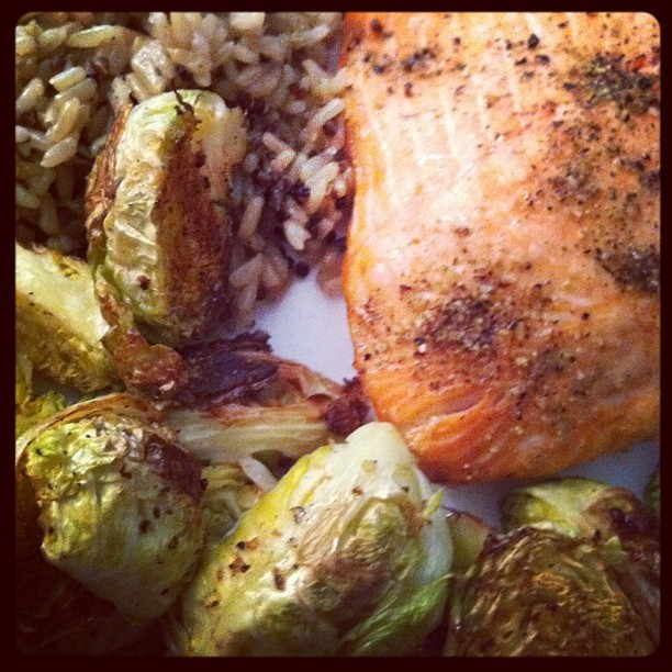 lemon-pepper roasted salmon and brussel sprouts with quinoa & brown rice (Taken with instagram)