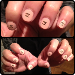 "Chanel nails on Mia, with Nicole by OPI Kardashian Kolors in ""Paparazzi Don't Preach""."
