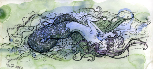 fallen-lights:  Mermaidink, pen, watercolor