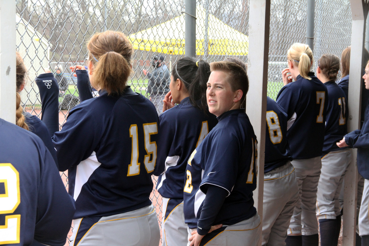 Smith Softball defeated Elms College 2-1 in Monday's home game. Above, pitcher Kayla Kiers '14 (top) and Kate O'Brien '13J (bottom). (photos by Kathy Bates '12) In other sports news, nine Smith Equestrian riders advanced out of regional championships to zone finals.