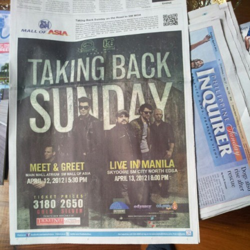 multifunctional:  Have you checked today's Inquirer? There's something for @TBSofficial fans! #TBSinManila (Taken with instagram)