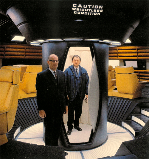 "Arthur C. Clarke & Stanley Kubrick on the set of ""2001: A Space Odyssey (1968)."