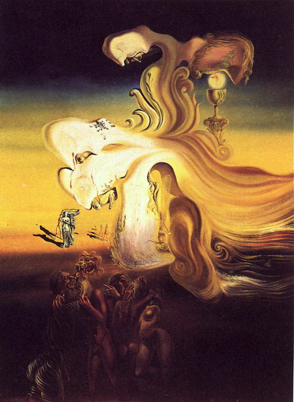 Sunday Dalí: Profanation of the Host, 1929. Oil on canvas, 100 x 73 cm. Morse Charitable Trust on loan to the Salvador Dalí Museum, St. Petersburg, Florida.  Two grasshoppers and our old friend, William Tell, in this one.
