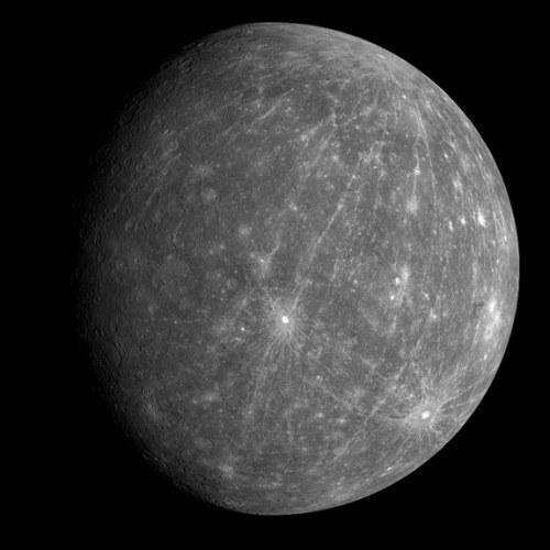 the-star-stuff:  MERCURY - Facts and Information Histroy and Naming Mercury is the closest planet to the sun. As such, it circles the sun faster than all the other planets, which is why Romans named it after the swift-footed messenger god Mercury. Mercury was also given separate names for its appearance as both a morning star and as an evening star. Greek astronomers knew, however, that the two names referred to the same body. Heraclitus believed that both Mercury and Venus orbited the Sun, not the Earth.  Physical Characteristics The surface of Mercury can reach a scorching 840 degrees F (450 degrees C). However, since this world doesn't have a real atmosphere to entrap any heat, at night temperatures can plummet to minus 275 degrees F (minus 170 degrees C), a more than 1,100 degrees F (600 degree C) temperature swing that is the greatest in the solar system.  Since it has no significant atmosphere to stop impacts, the planet is pockmarked with craters.  Amazing, as close to the sun as Mercury is, ice may exist in its craters.  Mercury is the second densest planet after Earth, with a huge metallic core roughly 2,200 to 2,400 miles (3,600 to 3,800 kilometers) wide, or about 75 percent of the planet's diameter. In comparison, Mercury's outer shell is only 300 to 400 miles (500 to 600 kilometers) thick.  Mercury possessed a magnetic field.  Composition & Structure Atmospheric composition (by volume). No atmosphere: Mercury possesses an exosphere containing 42 percent oxygen, 29 percent sodium, 22 percent hydrogen, 6 percent helium, 0.5 percent potassium, with possible trace amounts of argon, carbon dioxide, water, nitrogen, xenon, krypton, neon.  Magnetic Field. Roughly 1 percent the strength of Earth's. Internal structure. Iron core roughly 2,200 to 2,400 miles (3,600 to 3,800 kilometers) wide. Outer silicate shell about 300 to 400 miles (500 to 600 kilometers) thick.