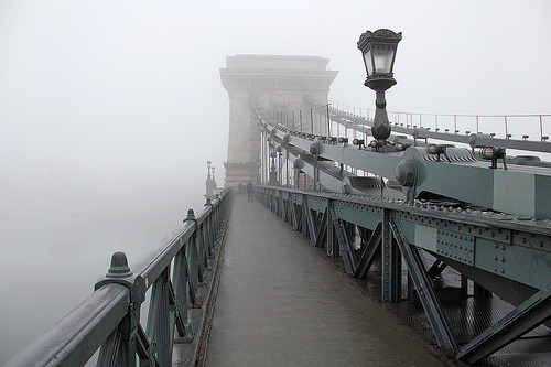 simplynorule:  Foggy Chain Bridge - walking through 1 (by Romeodesign)
