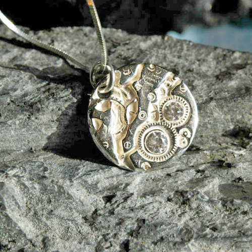 Fine Silver Watch Pendant Necklace White CZs Steampunk by 17jewels
