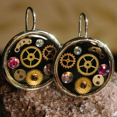 Watch Parts Earrings Steampunk Inspired with Pink Crystal by 17jewels
