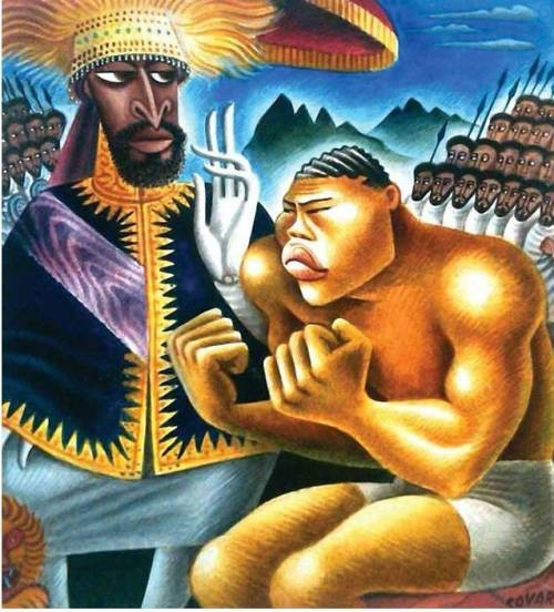 Haile Selassie and Joe Louis, 1935, by the phenomenal Mexican painter, caricaturist and illustrator Miguel Covarrubias (more here). Photo: Library of Congress via Art Knowledge News.