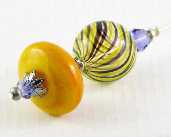 (via hat pin shawl pin brooch handblown glass by PiaBarileJewelry)