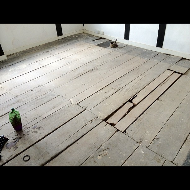 17th century oak floor before (Taken with instagram)