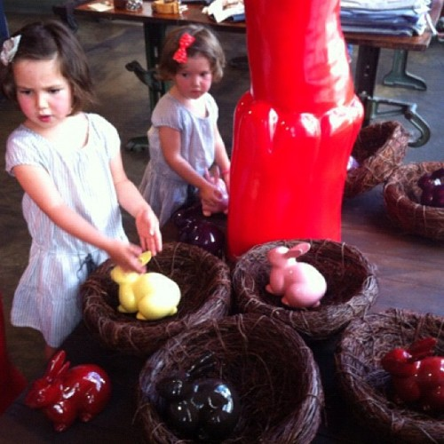Two cutie pies playing 'Find the #Bunny' game at L'Usine today! (Taken with instagram)