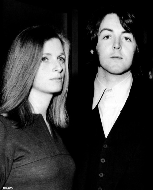 Paul and Linda at a launch party for Mary Hopkin's debut album, held at the GPO Tower, 13 February 1969.