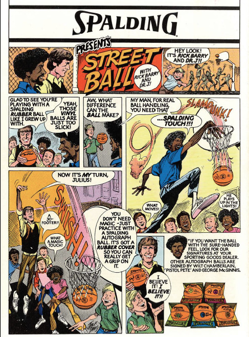 Vintage Rick Barry and Dr. J comic advertisement for Spalding