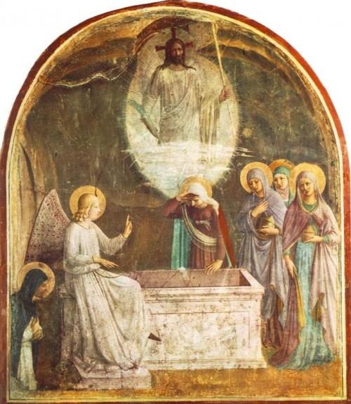 signum-crucis:  Resurrection of Christ and Women at the Tomb — Bl Fra Angelico, 1440-41Convento di San Marco, Florence  Praise to the Holiest in the height,And in the depth be praise;In all His words most wonderful,Most sure in all His ways. O loving wisdom of our God!When all was sin and shame,A second Adam to the fightAnd to the rescue came. O wisest love! that flesh and blood,Which did in Adam fail,Should strive afresh against the foe,Should strive and should prevail. And that a higher gift than graceShould flesh and blood refine,God's Presence and His very Self,And Essence all divine. O generous love! that He, who smote,In Man for man the foe,The double agony in ManFor man should undergo. And in the garden secretly,And on the Cross on high,Should teach His brethren, and inspireTo suffer and to die. Praise to the Holiest in the height,And in the depth be praise;In all His words most wonderful,Most sure in all His ways. —Bl John Henry Cardinal Newman, The Dream of Gerontius, 1865