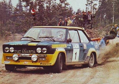 Markku Alen being awesome on his Fiat 131 Abarth, during the 1977 Lakes Rally.