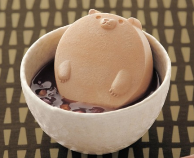Happy Bear Relaxing in a Red Bean Soup Disturb this peaceful bear by purchasing it online within Japan.