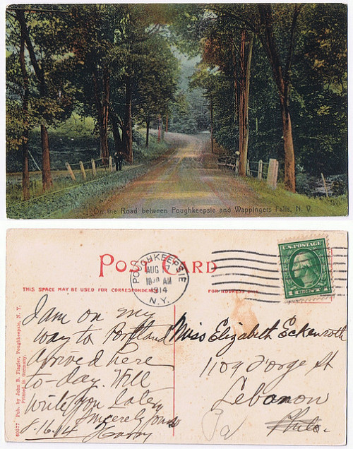 On the Road between Poughkeepsie and Wappingers Falls - Postally used 1914 by Wappingers Historical Society on Flickr.